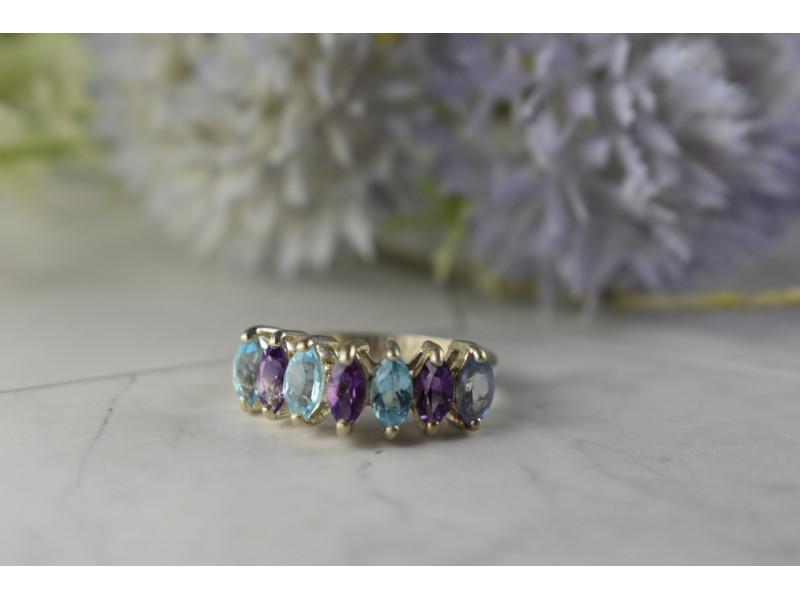 Серебряное кольцо 925 пробы с фиолетовым Турмалином, Топазом и Танзанитом