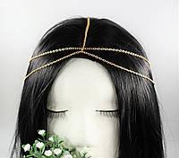 Цепочка тика тиара на голову Классика (золото) № 70, фото 1