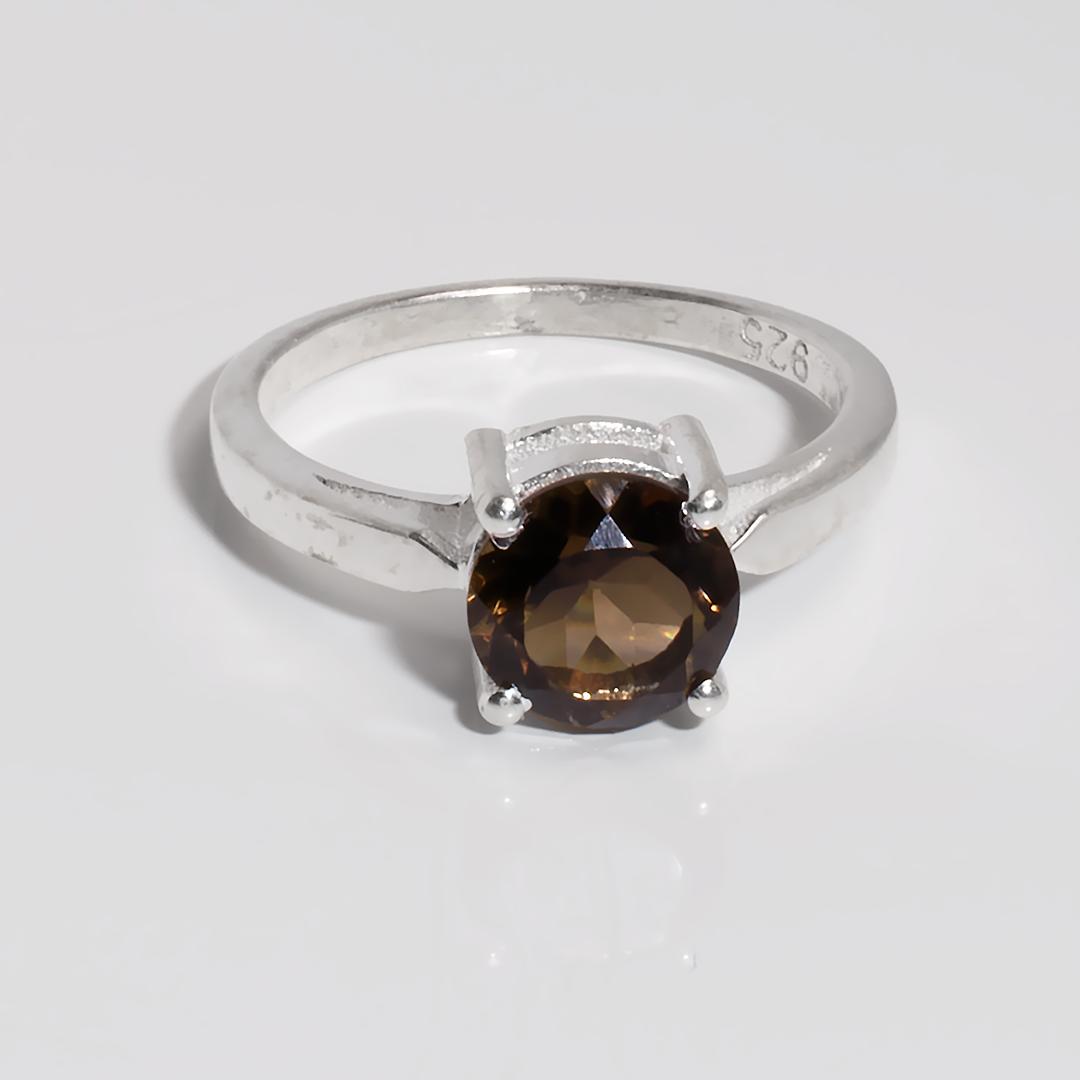 Раухтопаз димчастий кварц срібне кільце, 1787КР