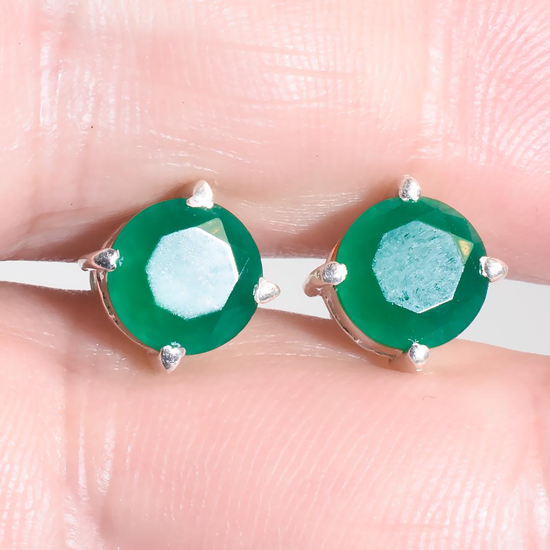 Агат зеленый серебряные серьги пуссеты, 661СРА