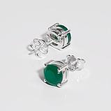 Агат зеленый серебряные серьги пуссеты, 661СРА, фото 2