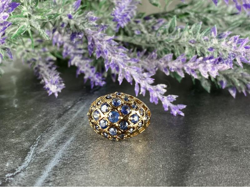 Серебряное кольцо в позолоте с камнями Танзанит   925 проба