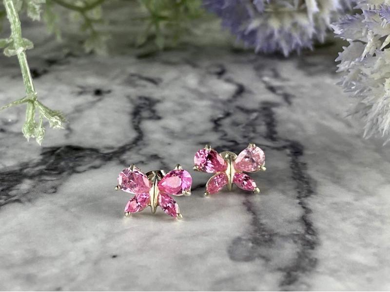 Серебряные серьги *Бабочка* с розовыми Фианитами