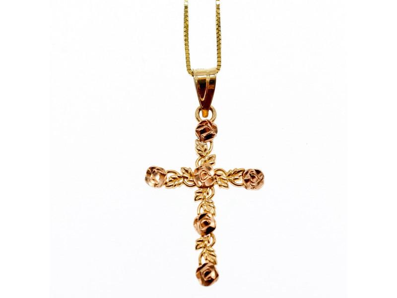 Золотая цепочка с Крестиком  14К (585 проба)  Италия