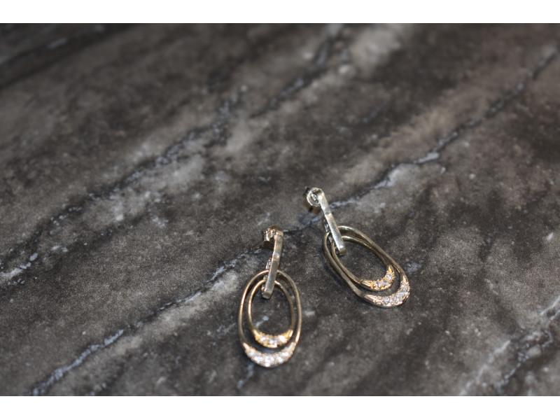 Серебряные серьги-гвоздики с фианитами 925 проба