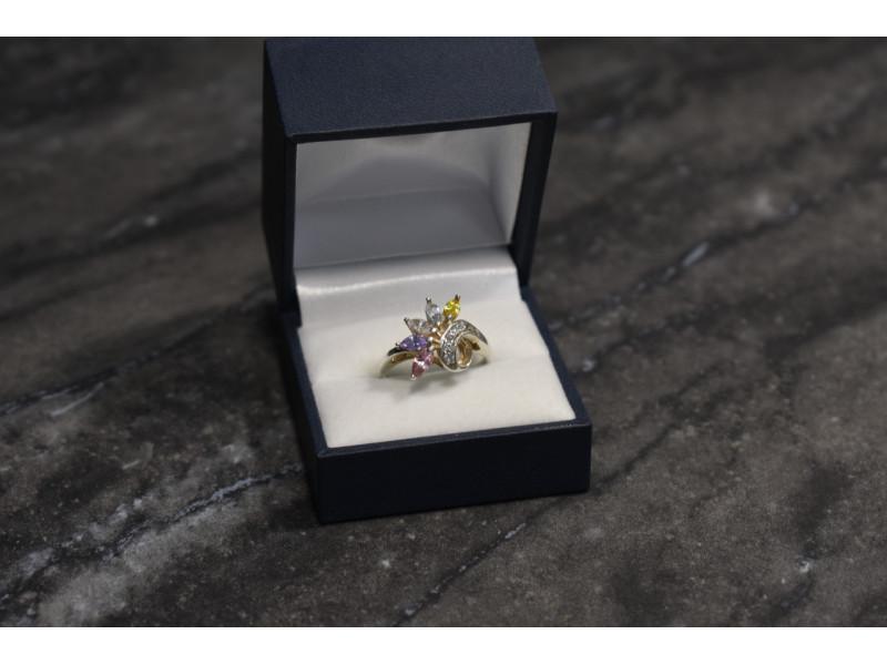 Серебряное кольцо 925 проба с разноцветными фианитами
