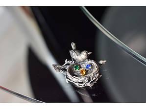Вінтажна срібна брошка з різнокольоровими фіанітами