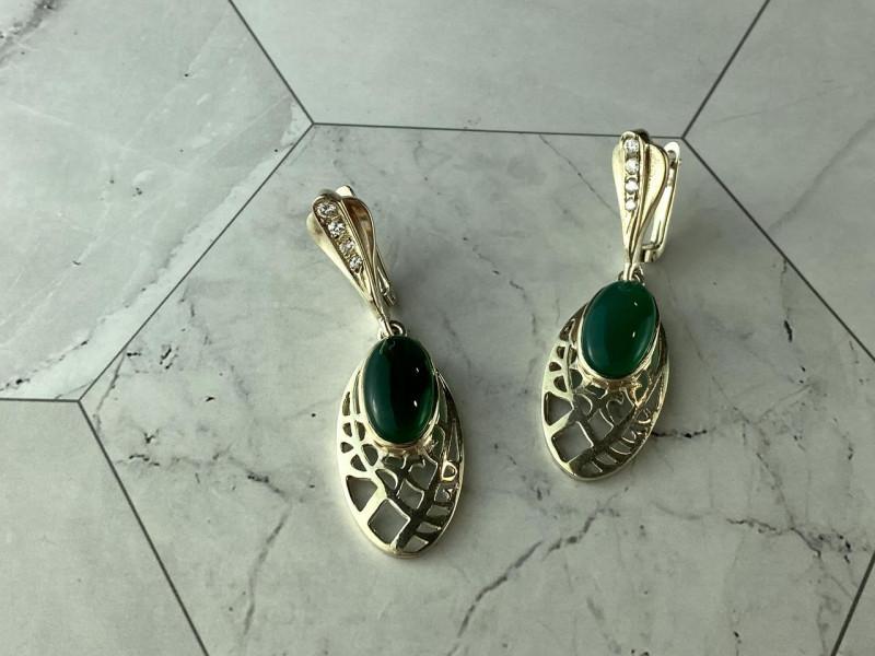 Вінтажні Срібні Сережки з зеленим Агатом і Фіанітами 925 проба