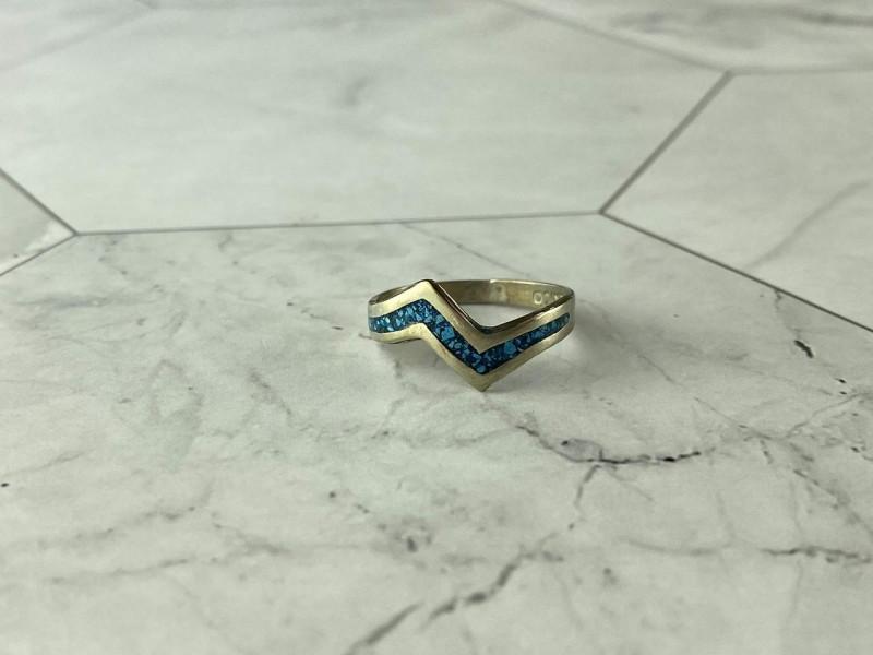 Винтажное Серебряное кольцо со вставками из Малахита