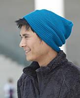 Голубая вязаная шапка (удлиненный крой)