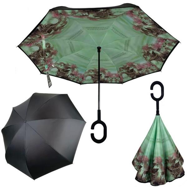 Зонт обратного сложения рисунок внутри женский Feeling Rain Антизонт трость полуавтомат Черный двойной купол