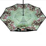 Зонт обратного сложения рисунок внутри женский Feeling Rain Антизонт трость полуавтомат Черный двойной купол, фото 3