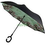 Зонт обратного сложения рисунок внутри женский Feeling Rain Антизонт трость полуавтомат Черный двойной купол, фото 4