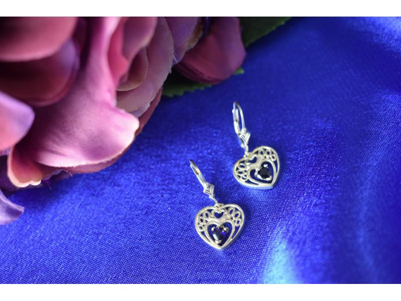 Серебряные серьги  с  Сапфиром 925 проба  *Сердце*