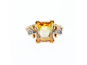 Золотое кольцо 10К (417 проба ) с желтым топазом и бриллиантами
