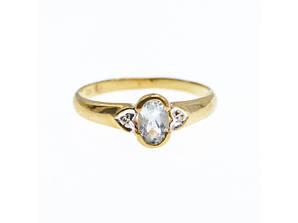 Золотое кольцо с Аквамарином и Бриллиантами   Классика
