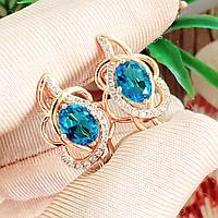 Сережки Xuping 2.1см медичне золото позолота 18К блакитний цирконій с1203, фото 1