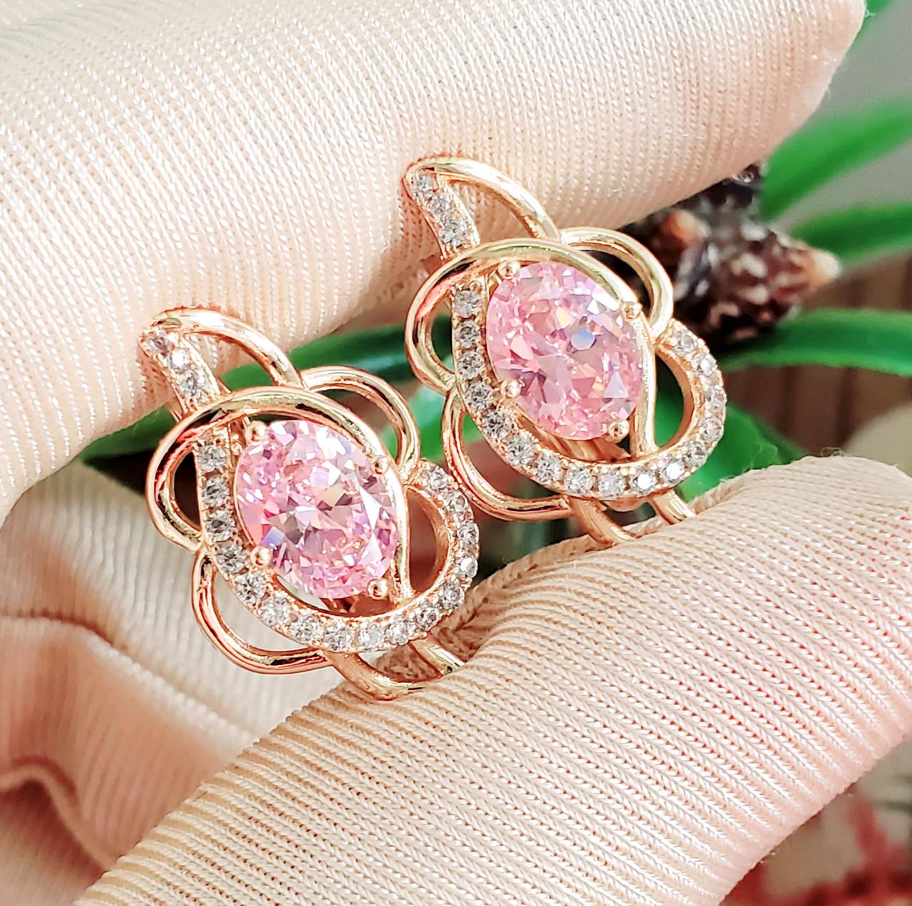 Сережки Xuping довжина 2.1см позолота 18К медичне золото рожевий цирконій с1102