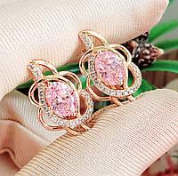 Сережки Xuping довжина 2.1см позолота 18К медичне золото рожевий цирконій с1102, фото 1