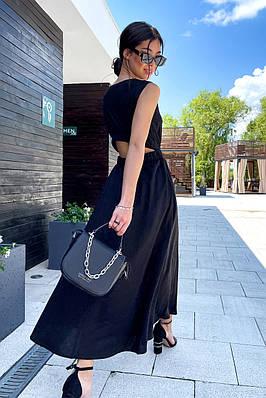 Жіноче літнє довге чорне плаття з бавовни