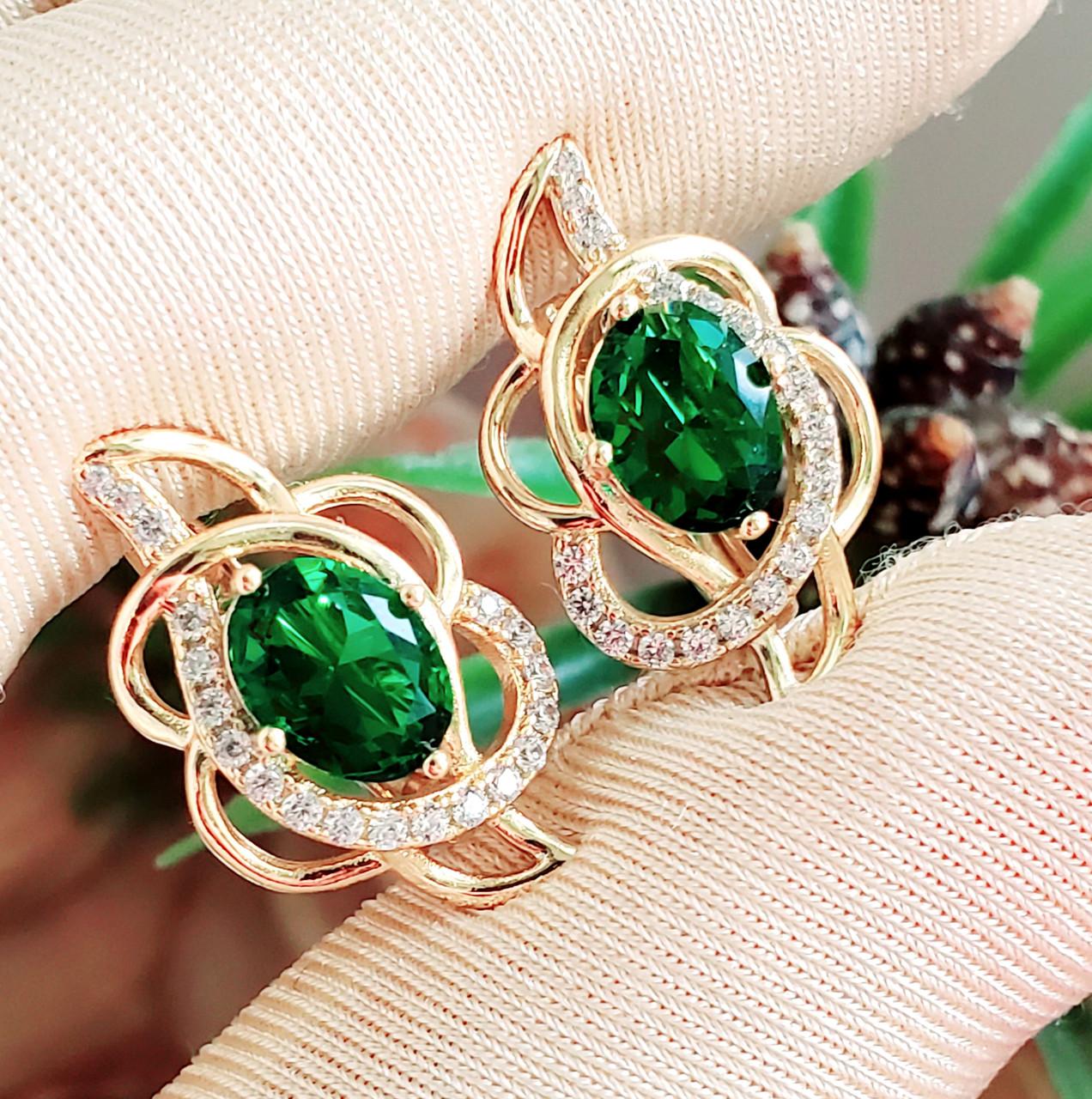 Сережки Xuping довжина 2.1см позолота 18К медичне золото зелений цирконій с1110