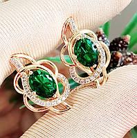 Сережки Xuping довжина 2.1см позолота 18К медичне золото зелений цирконій с1110, фото 1