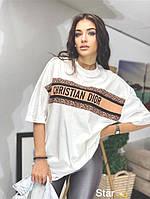 Женская белая футболка oversized с модным принтом