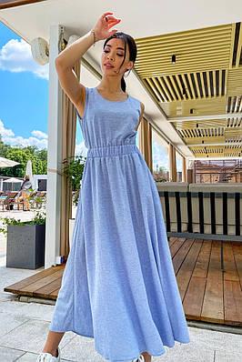 Повсякденне довге блакитне літнє плаття з бавовни