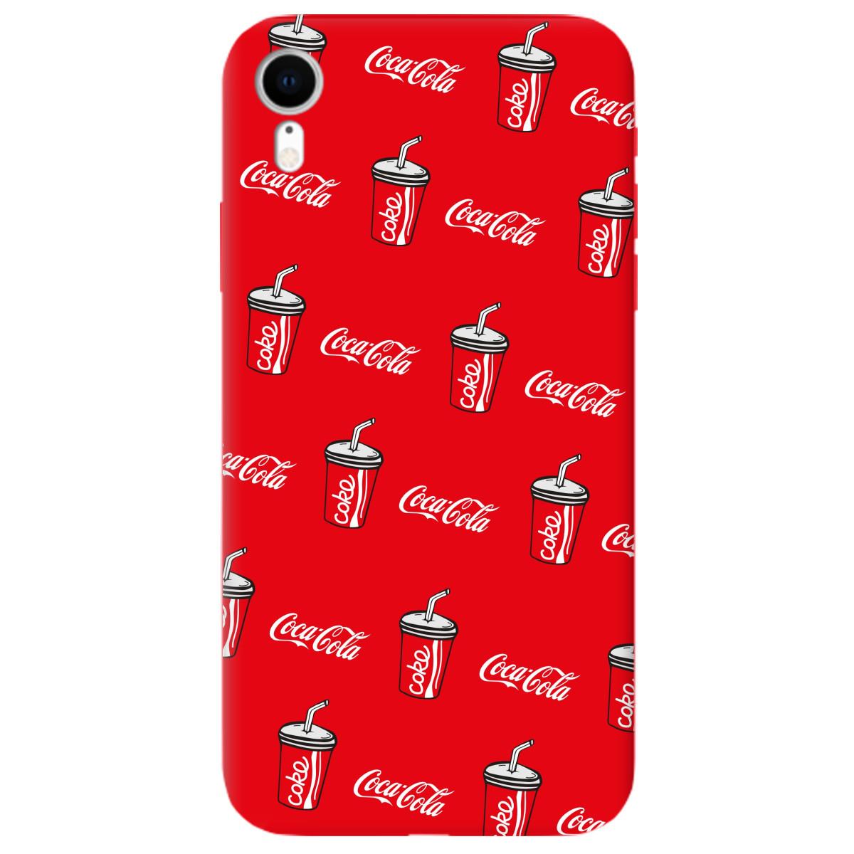 Чехол для Apple iPhone XR ярко-красный матовый soft touch Coca Cola