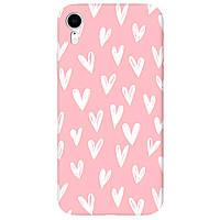 Чохол для Apple iPhone XR ніжно-рожевий матовий soft touch White hearts
