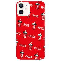Чохол для Apple iPhone 12 яскраво-червоний матовий soft touch Coca Cola