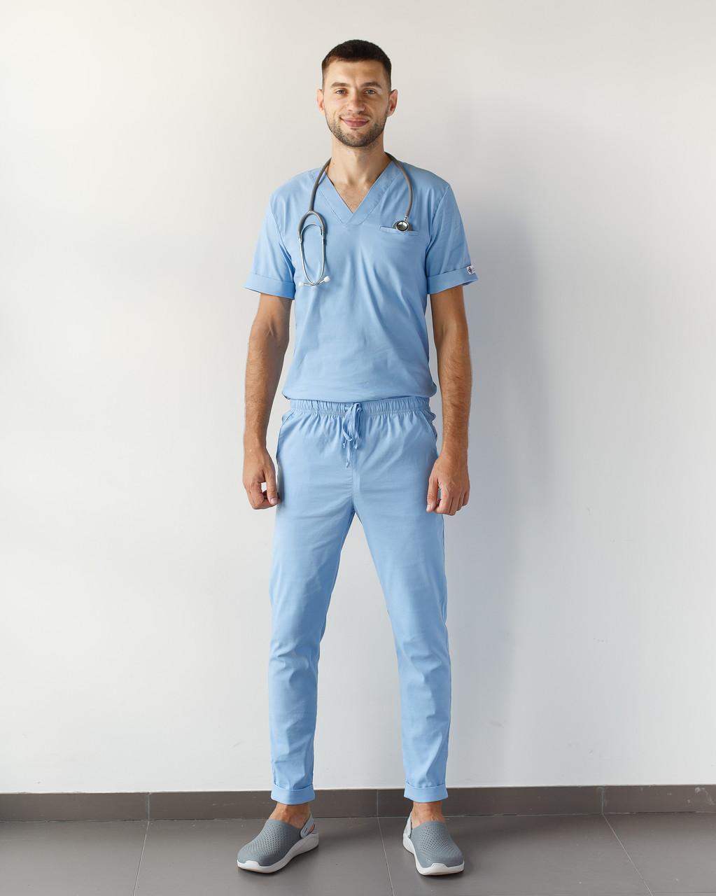 Медицинский мужской костюм Марсель из эластичной ткани голубой
