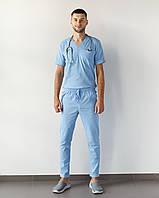 Медицинский мужской костюм Марсель из эластичной ткани голубой, фото 1