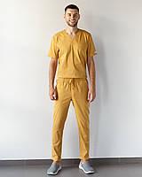 Медицинский мужской костюм Марсель из эластичной ткани горчиный, фото 1