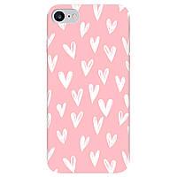 Чохол для Apple iPhone SE 2020, iPhone 7, iPhone 8 ніжно-рожевий матовий soft touch White hearts