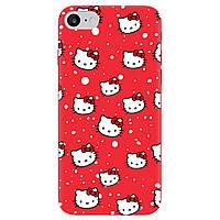 Чехол для Apple iPhone 7 ярко-красный матовый soft touch Hello Kitty