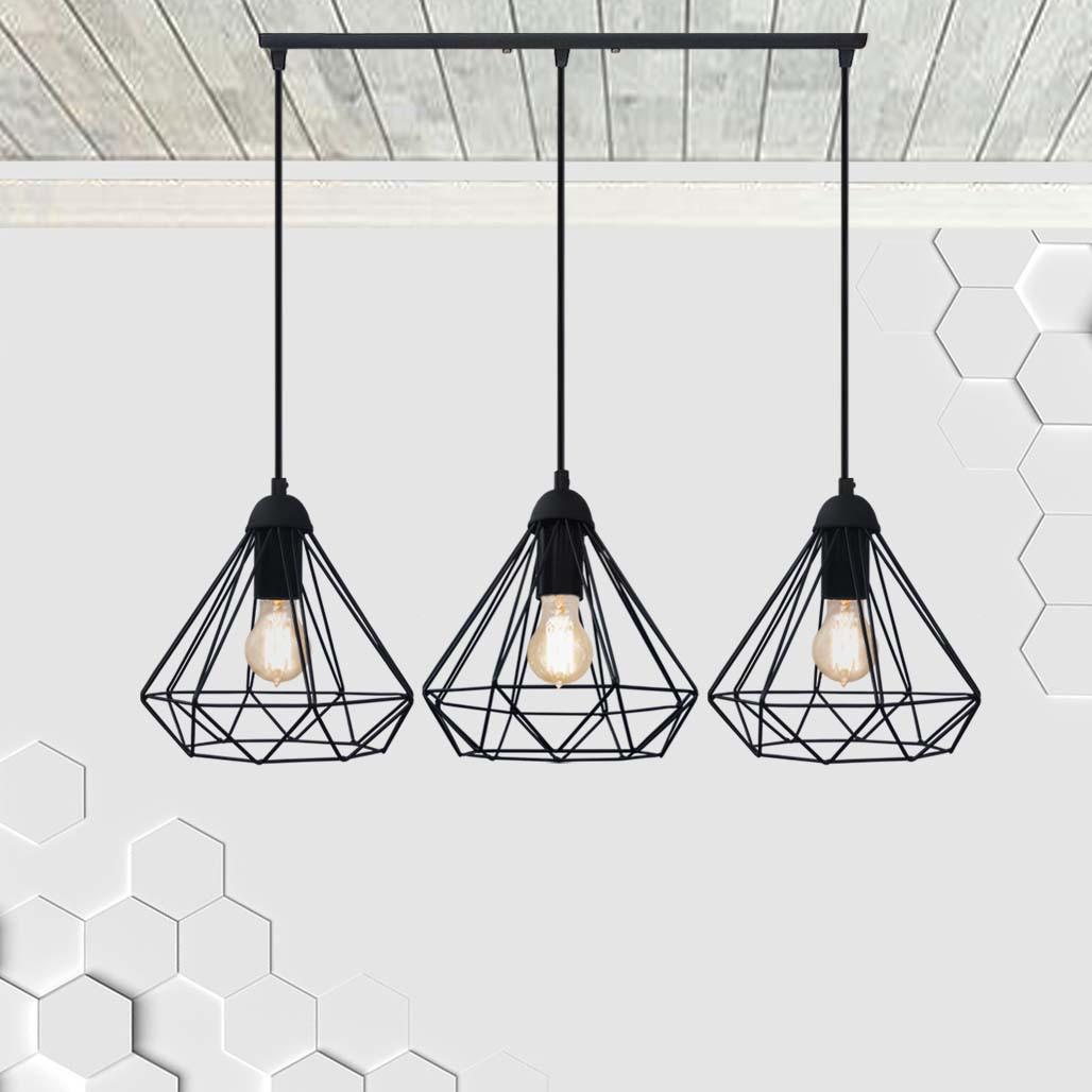 Подвесная люстра на 3-лампы DIAMOND-3 E27 чёрный