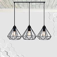 Подвесная люстра на 3-лампы DIAMOND-3 E27 чёрный, фото 1