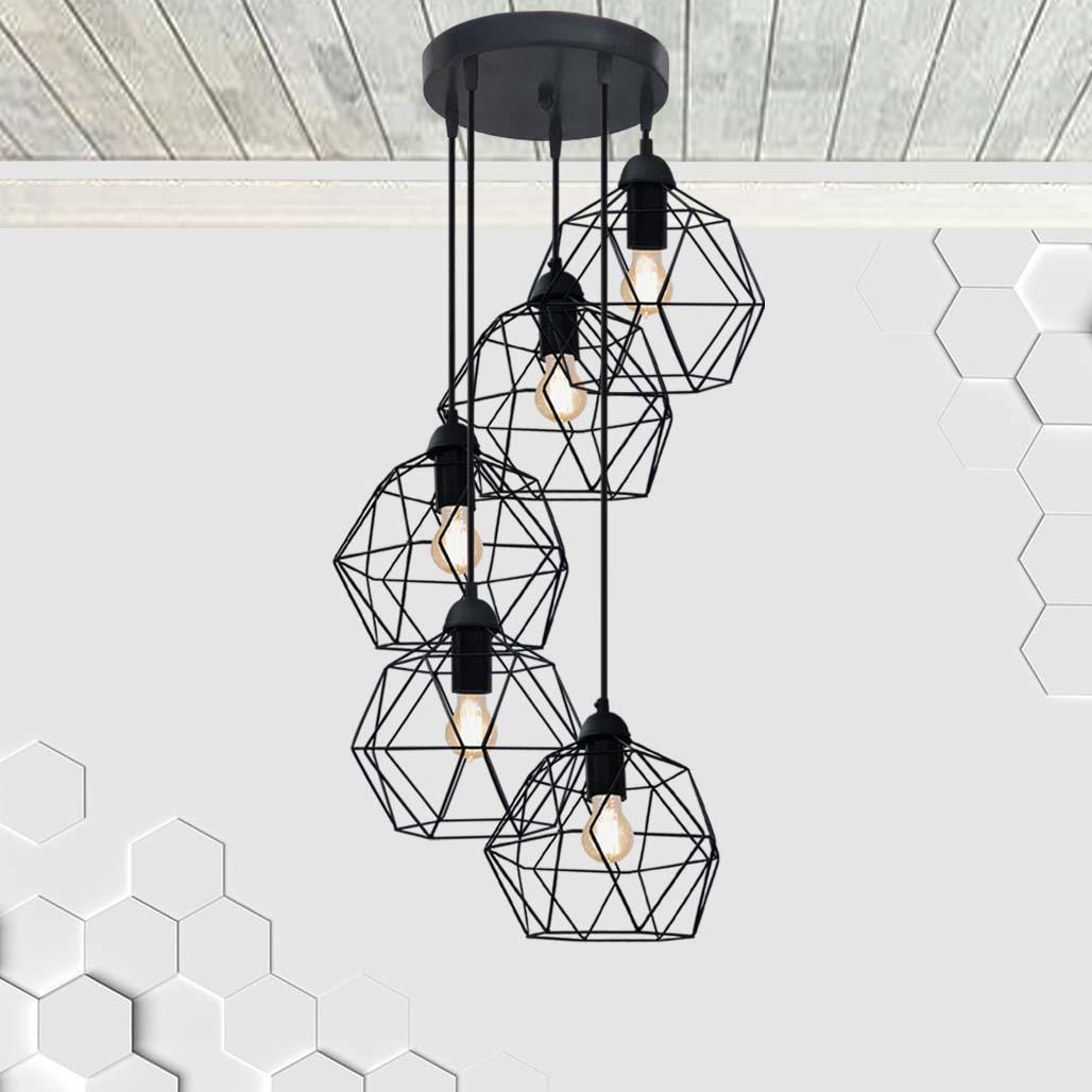 Подвесная люстра на 5-ламп ANTHILL-5G E27 на круглой основе, чёрный