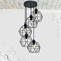 Подвесная люстра на 5-ламп ANTHILL-5G E27 на круглой основе, чёрный, фото 1