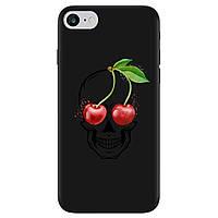 Чехол для Apple iPhone 7 черный матовый soft touch Cherry skull