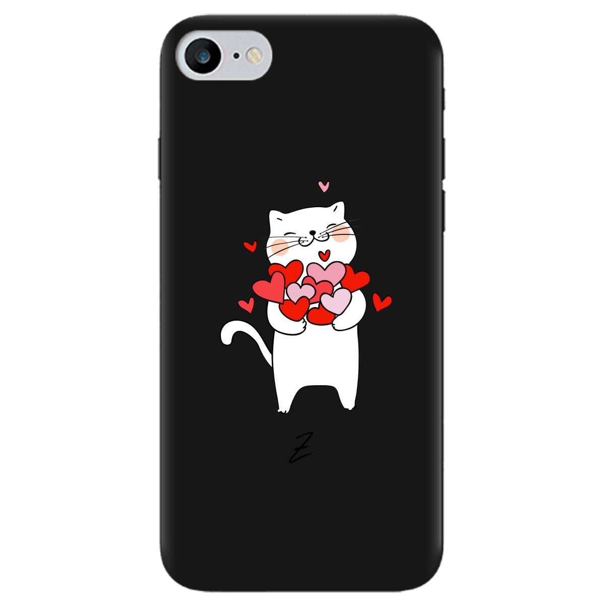 Чехол для Apple iPhone 7 черный матовый soft touch loving heart
