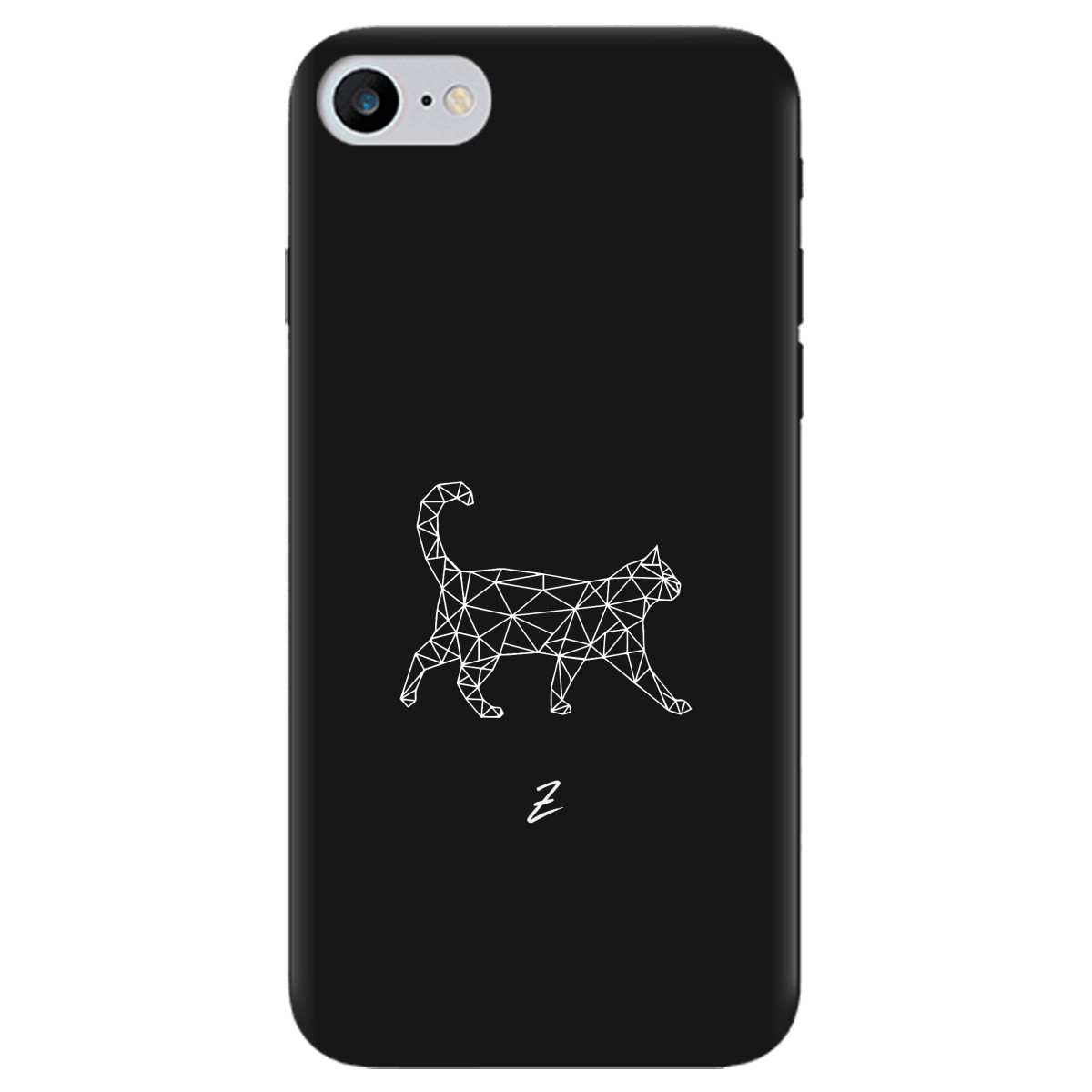Чохол для Apple iPhone 7 чорний матовий soft touch White cat