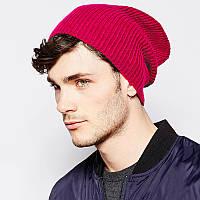 Малиновая вязаная шапка (удлиненный крой)
