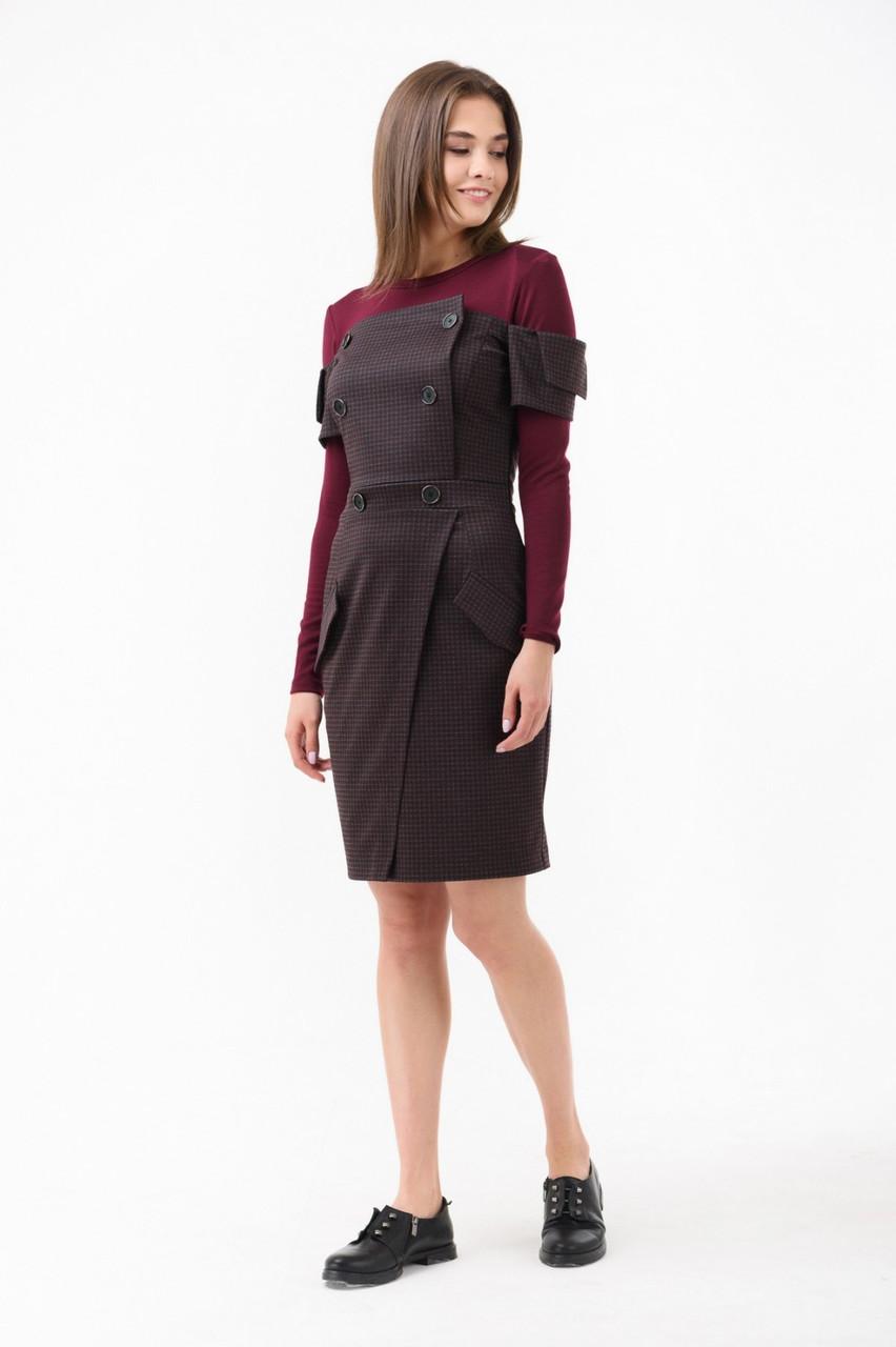 Жіноче плаття-футляр з ефектом подвійного бордове Rica Mare MKRM1893-18DD