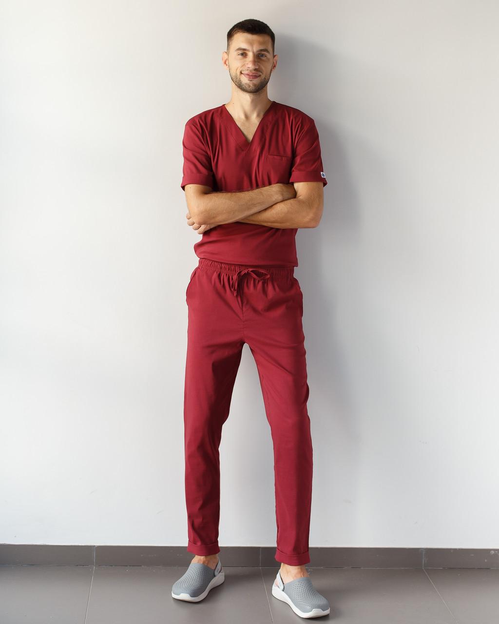 Медицинский мужской костюм Марсель из эластичной ткани марсала