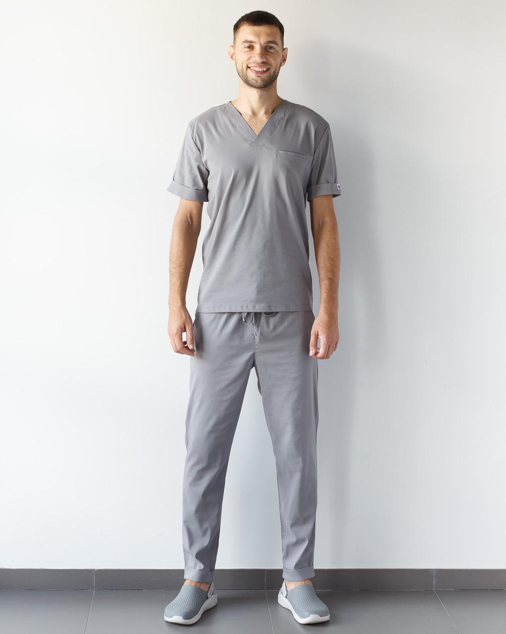 Медичний чоловічий костюм Марсель з еластичної тканини сірий