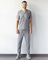 Медичний чоловічий костюм Марсель з еластичної тканини сірий, фото 1