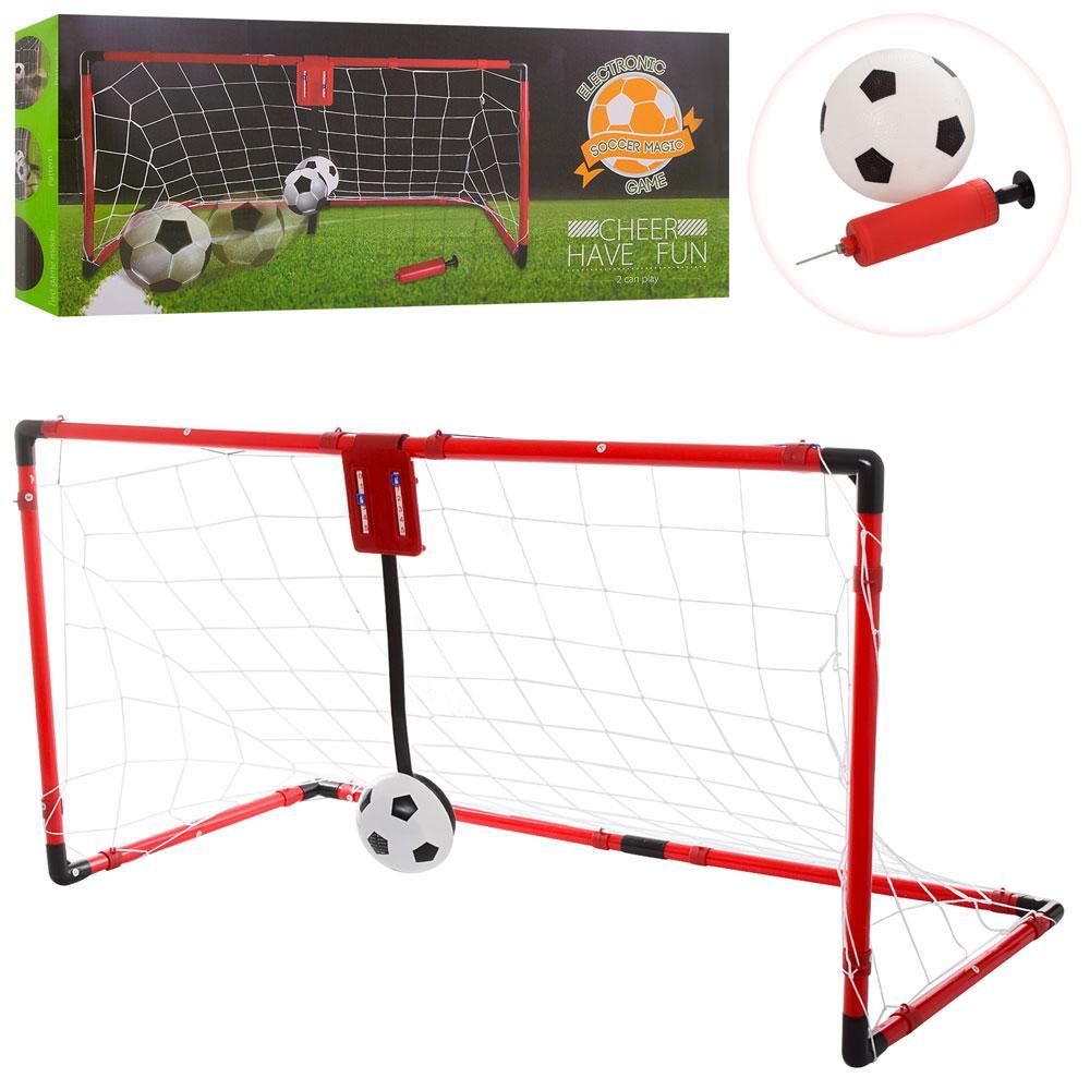 Футбольные ворота M 6022  сетка, мяч, наcос,шкала,вед.счет-звук,на бат-ке, в кор-ке, 58-24-10см