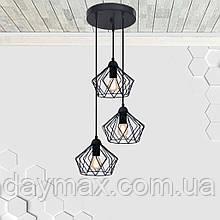 Підвісна люстра на 3-лампи CARAVAN-3G E27 на круглій основі, чорний